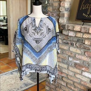 Hale bob patterned scarf blouse with brass chain.
